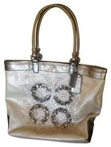 Coach Leather Canvas Crystal Tote in Silver