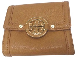 Tory Burch Double Snap Logo Wallet Pebbled Leather Tonal Logo Baguette