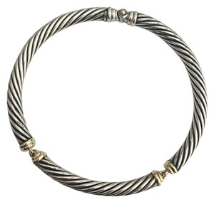David Yurman sterling silver, 14k yellow gold, hinged, 10mm, Choker