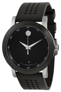 Movado Black Stainless Steel Dial Perforated Rubber Strap Designer MENS Watch