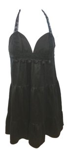 Black Halter Silk Dress