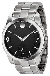 Movado Black Dial Silver tone Stainless Steel Designer Dress MENS Watch