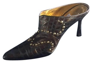 Timothy Hitsman Studded Vintage Bronze with Brass Studs Mules