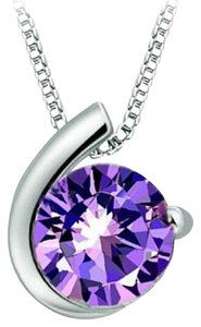 Other New 14K White Gold Plated Purple Cubic Zirconia Necklace J2775