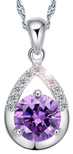 New 10K White Gold Filled Cubic Zirconia Necklace J2776