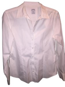 Brooks Brothers Non-iron Fitted Dress Shirt Button Down Shirt White