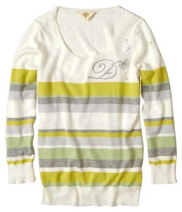 Anthropologie Styling Letter D V Neck Cheerful Stripe Layering Sweater