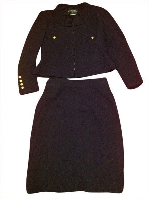 Item - Very Dark Blue Fitted with High Waist Skirt Suit Size 8 (M)