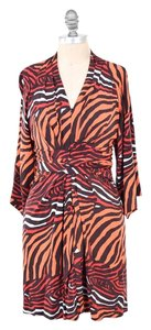 Banana Republic short dress Pink/Brown Animal Print Draped Faux-wrap on Tradesy