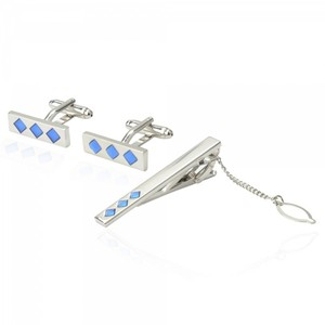 Silver Tone Metal With Blue Rhombus Pattern Cufflinks And Tie Clip Set