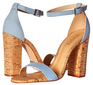 SCHUTZ Leather Ankle Strap Cork Cork/Light Blue Sandals