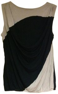 Ann Taylor LOFT Modal Color-blocking Flowy Geometric Business Professional Business Casual Top black and beige