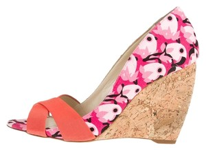 Rupert Sanderson Pink, Orange, Floral Wedges