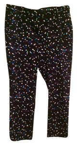 J.Crew Work Wear Summer Professional Capri/Cropped Pants Navy Blue with White/Green/Purple Dots