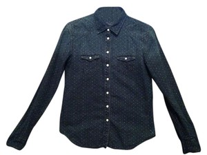 American Eagle Outfitters Cotton Button Down Shirt navy blue