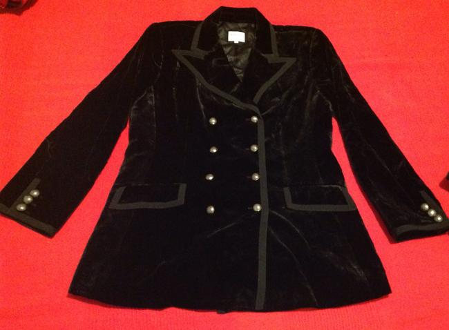 Armani Collezioni Velvet Double-breasted Blazer Black Jacket