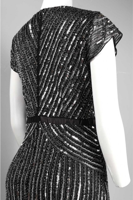 Adrianna Papell Beaded Ball Gown Gown Black Dress Image 2