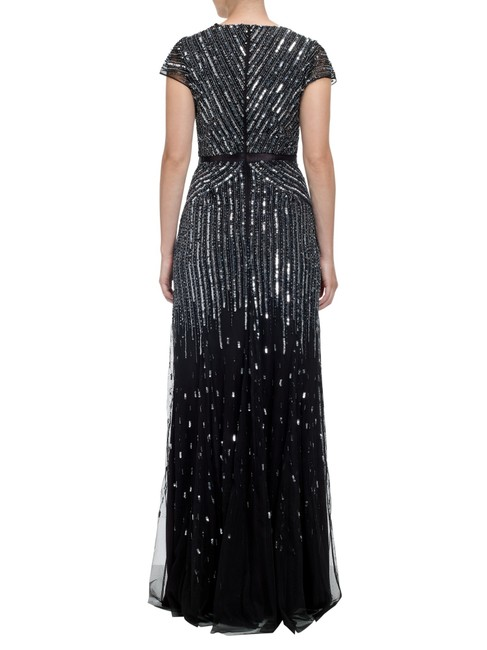 Adrianna Papell Beaded Ball Gown Gown Black Dress Image 3