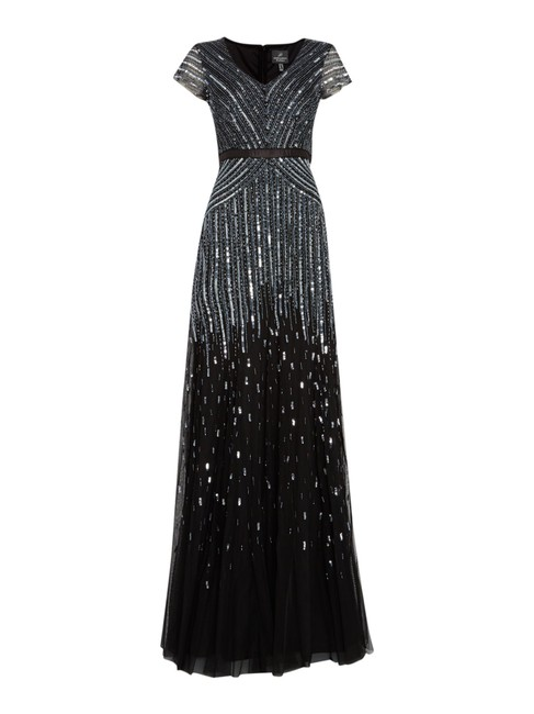 Adrianna Papell Beaded Ball Gown Gown Black Dress Image 4