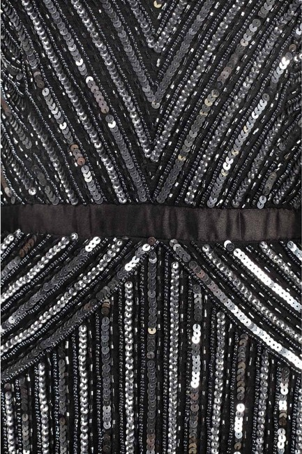 Adrianna Papell Beaded Ball Gown Gown Black Dress Image 5