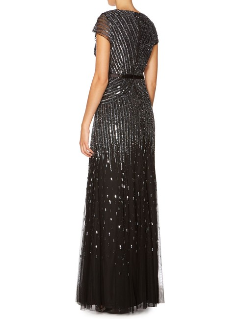 Adrianna Papell Beaded Ball Gown Gown Black Dress Image 7