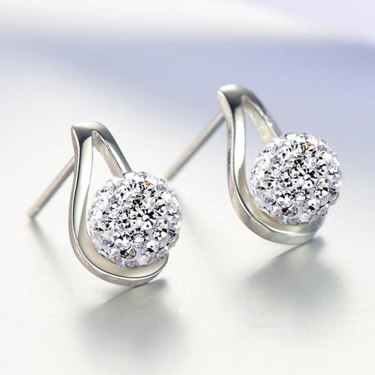 Other New Sterling Silver Filled Stud Earrings Crystal Ball J2777 Image 1