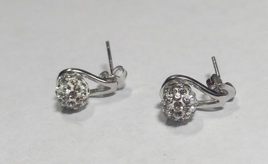 Other New Sterling Silver Filled Stud Earrings Crystal Ball J2777 Image 2