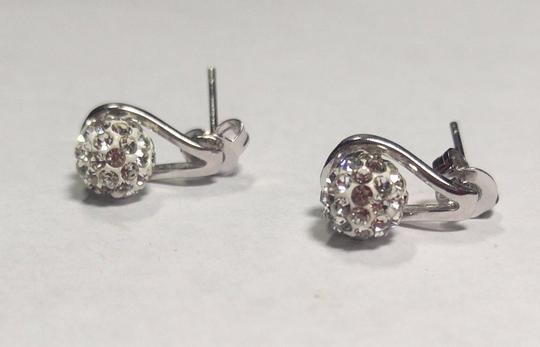 Other New Sterling Silver Filled Stud Earrings Crystal Ball J2777 Image 3