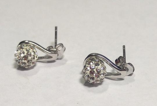 Other New Sterling Silver Filled Stud Earrings Crystal Ball J2777 Image 4