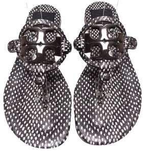 Tory Burch Logo Medallion Snake-embossed Double-t Logo Gunmetal Logo Leather Black and White Dots Sandals