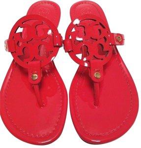 7e2098b076896 Tory Burch Patent Leather Flip Flops Bold Logo Cutout  Rubber Sole Ruby  Jewel Sandals