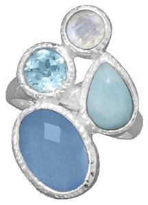 Chalcedony, Larimar, Topaz and Moonstone Ring (available sizes 7-9)