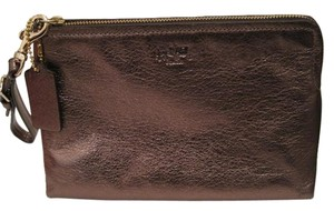 Coach Pouch Clutch Cosmetic Make Up Wristlet in Metallic Gold