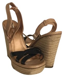 BCBGeneration Espadrille Sandal Summer Patent Leather Espadrille/Black Wedges