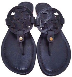 601be2381339 Tory Burch Leather And Satin Flip Flops Bold Logo Cutout Leather Upper  BRIGHT NAVY Sandals