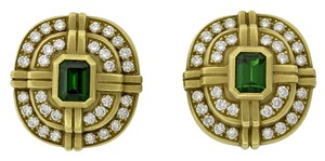 Barry Kieselstein-Cord Vintage Barry Kieselstein Cord 18k Gold Diamond Green Tourmaline ClipOn Earrings