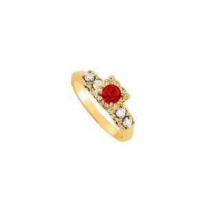 LoveBrightJewelry Silver with Yellow Gold Vermeil Fab Ruby and Cz 0.75 Tgw Engagement Ring