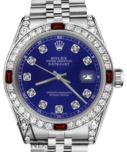 Rolex Ladies Rolex 26mm Datejust Blue Dial with Ruby & Diamonds Bezel Accent