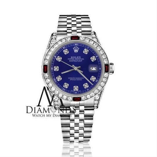 Rolex Ladies Rolex 26mm Datejust Blue Dial with Ruby & Diamonds Bezel Accent Image 1