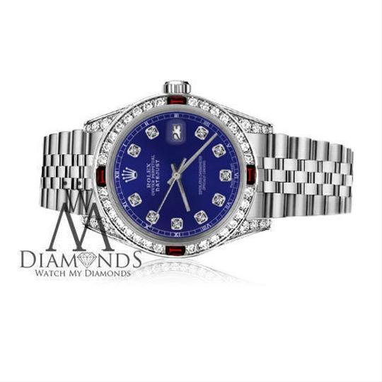 Rolex Ladies Rolex 26mm Datejust Blue Dial with Ruby & Diamonds Bezel Accent Image 2