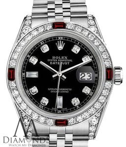 Rolex Women's Rolex 31mm Datejust Steel Black Dial Ruby & Diamond Watch