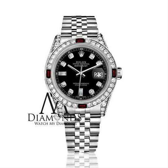 Rolex Women's Rolex 31mm Datejust Steel Black Dial Ruby & Diamond Watch Image 1