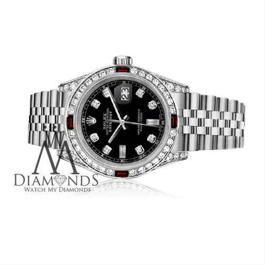 Rolex Women's Rolex 31mm Datejust Steel Black Dial Ruby & Diamond Watch Image 2