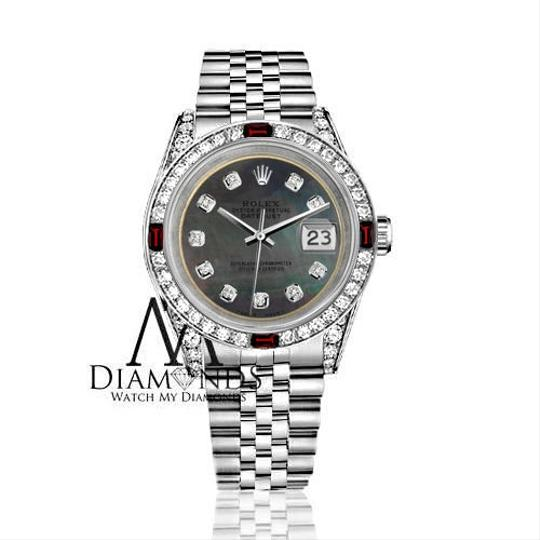 Rolex Ladies Rolex 26mm Datejust Black MOP Dial with Rbuy & Diamonds Image 1
