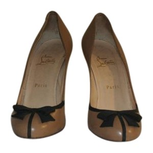 Christian Louboutin tan with black bow-tie Pumps