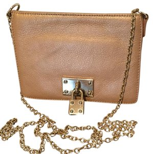 Alexis Hudson Brown Leather Tan Leather Light Brown Gold Chain Strap Clutch