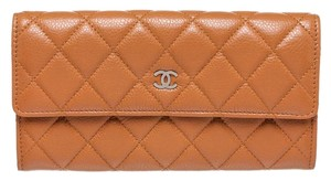 Chanel Chanel Tan Quilted Caviar Deerskin Snap Wallet