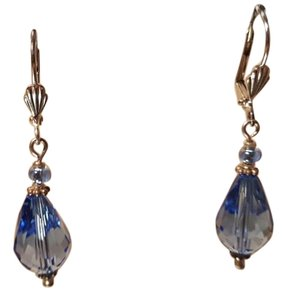 Other Blue Crystal Handmade Earrings Lever Back Pierced Silve plated