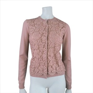 Valentino Lace Overlay Concealed Button Hidden Button Long Sleeve Crew Neck Cardigan