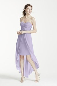 David's Bridal Iris Strapless High Low Dress With Split Front Detail - Style F15678 Dress